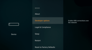 developer options of fire tv